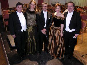 Die Solisten der Mozart Gala KS Alfred Sramek, kS Edith Lienbacher, Cornelia Salje und KS Herwig Pecoraro von der Wiener Staatsoper